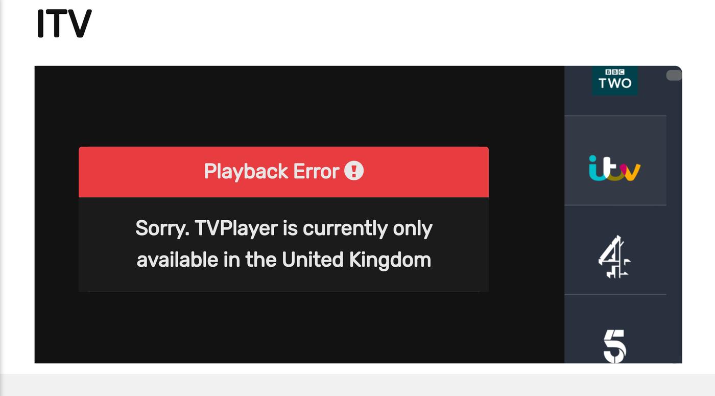 TVPlayer blocked outside the UK